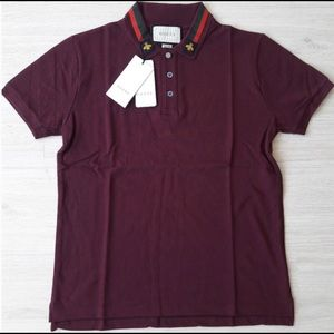 GUCCI MENS CLARET RED BEE COLLOR BASIC POLO SHIRT